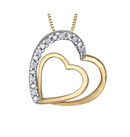 Forever Jewellery Yellow Gold (0.05ct) Diamond Double Heart Pendant