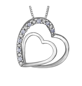 Forever Jewellery White Gold (0.05ct) Diamond Double Heart Pendant