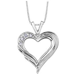 Forever Jewellery White Gold (0.04ct) Diamond Heart Pendant
