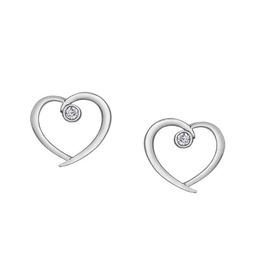 Forever Jewellery White Gold (0.04ct) Diamond Heart Stud Earrings