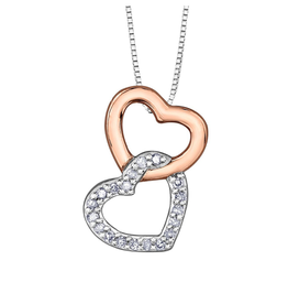 Forever Jewellery Two Tone White & Rose Gold (0.06ct) Diamond Double Heart Pendant
