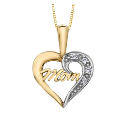 Forever Jewellery Two Tone Yellow & White Gold (0.02ct) Diamond Mom Heart Pendant