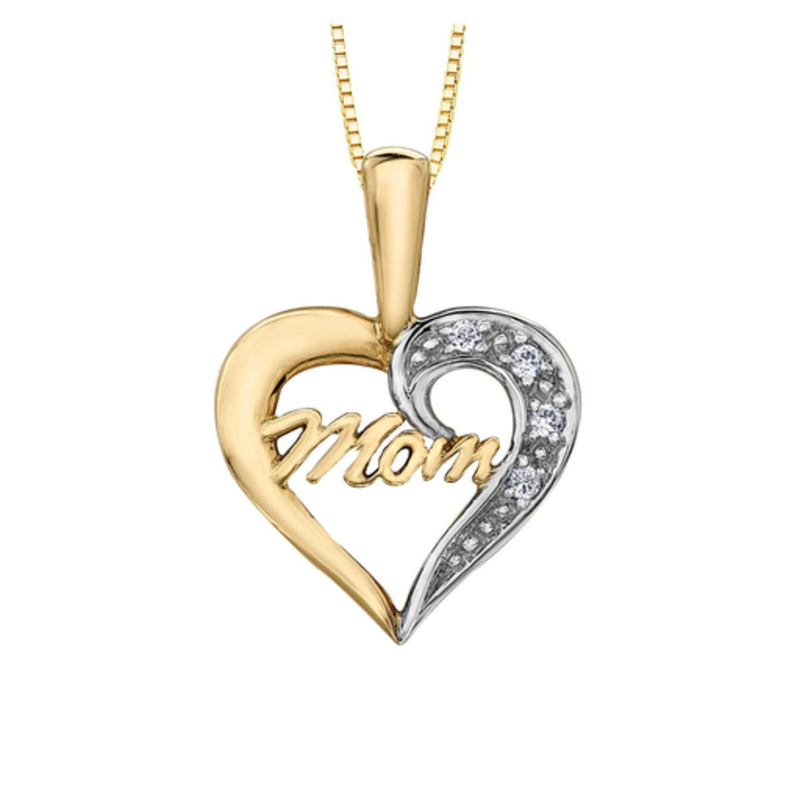 Forever Jewellery 10K Yellow & White Gold (0.02ct) Diamond Mom Heart Pendant