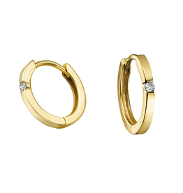 Forever Jewellery Yellow Gold (0.04cttw) Diamond Hoop Earrings