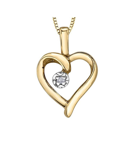 Forever Jewellery Yellow Gold (0.007cttw) Diamond Heart Pendant