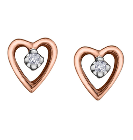 Forever Jewellery Rose Gold (0.02ct) Diamond Heart Stud Earrings