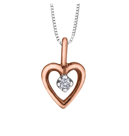 Forever Jewellery Two Tone Rose & White Gold (0.01ct) Diamond Heart Pendant