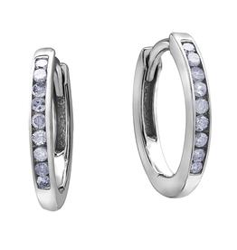 Forever Jewellery White Gold (0.10ct) Diamond Hoop Earrings