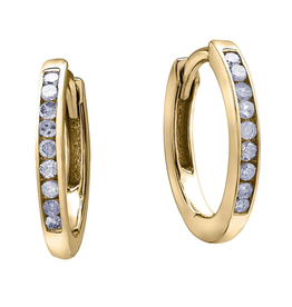 Forever Jewellery Yellow Gold (0.10cttw) Diamond Hoop Earrings