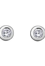 Forever Jewellery White Gold (0.08ct) Bezel Set Diamond Stud Earrings