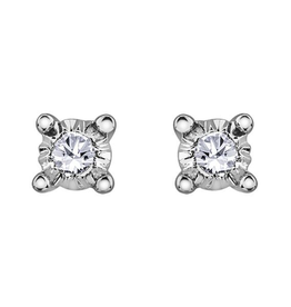Forever Jewellery White Gold (0.04cttw) Claw Set Diamond Stud Earrings