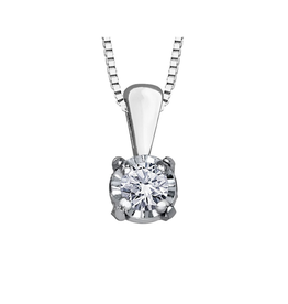 Forever Jewellery 10K White Gold (0.03ct) Illusion Setting Diamond Solitaire Pendant