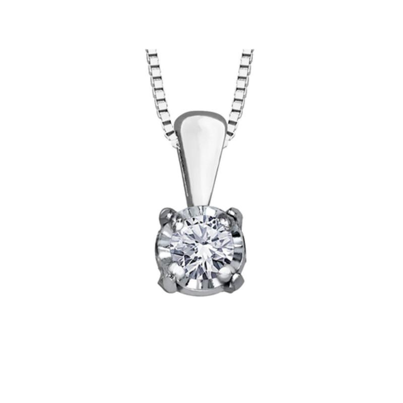 Forever Jewellery 10K White Gold (0.03ct) Illusion Setting Diamond Solitaire Pendant