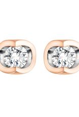 Forever Jewellery Rose Gold (0.06ct) Halfmoon Set Diamond Stud Earrings