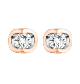 Forever Jewellery Rose Gold (0.06ct) Halfmoon Set Diamond Stud Earrings