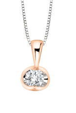 Forever Jewellery Two Tone Rose & White Gold (0.04ct) Halfmoon Set Diamond Pendant