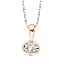 Forever Jewellery 10K Rose and White Gold (0.04ct) Half Moon Diamond Solitaire Pendant