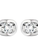 Forever Jewellery 10K White Gold (0.06ct) Diamond Half Moon Stud Earrings