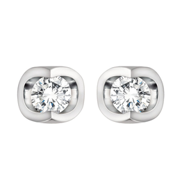 Forever Jewellery Forever Jewellery White Gold (0.06cttw) Halfmoon Set Diamond Stud Earrings