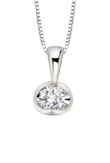 Forever Jewellery 10K White Gold (0.04ct) Half Moon Diamond Solitaire Pendant