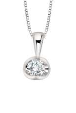 Forever Jewellery White Gold (0.04ct) Halfmoon Set Diamond Pendant