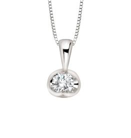 Forever Jewellery White Gold (0.04cttw) Diamond Halfmoon Set Pendant