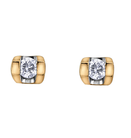 Forever Jewellery Yellow Gold (0.06cttw) Tension Set Diamond Earrings