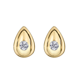 Forever Jewellery Yellow Gold (0.04ct) Diamond Teardrop Stud Earrings
