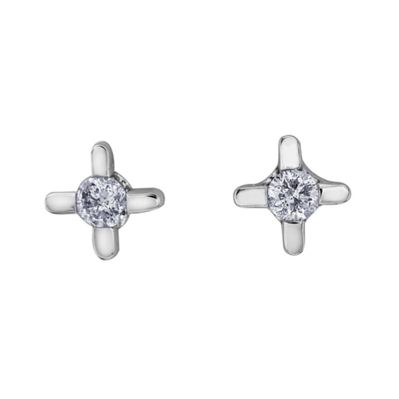 Forever Jewellery White Gold (0.05ct) Diamond Stud Earrings