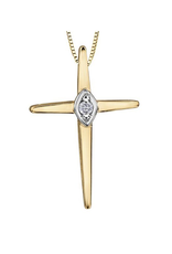 Forever Jewellery Yellow Gold (0.015ct) Diamond Cross Pendant