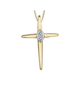 Forever Jewellery Yellow Gold (0.015cttw) Diamond Cross Pendant