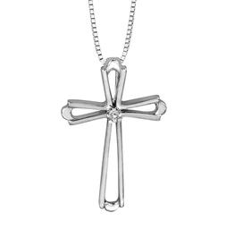 Forever Jewellery 10K White Gold (0.01ct) Diamond Cross Pendant