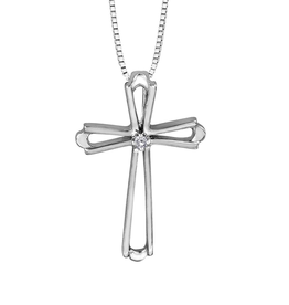 Forever Jewellery White Gold (0.01ct) Diamond Cross Pendant