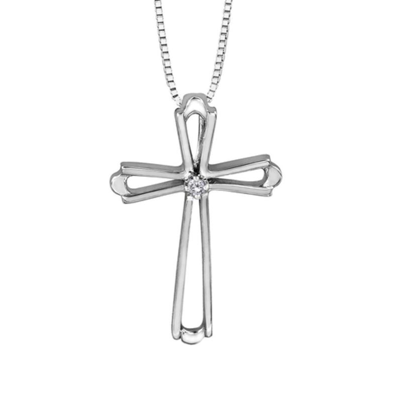 Forever Jewellery White Gold (0.01ct) Diamond Cross Pendant