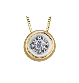 Forever Jewellery Yellow Gold (0.03ct) Diamond Bezel Set Pendant