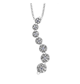 Forever Jewellery 10K White Gold (0.04ct) Diamond Illusion Setting Journey Pendant