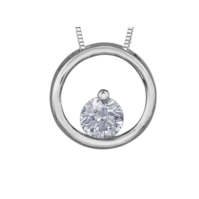 Forever Jewellery White Gold (0.075ct) Diamond Circle Pendant