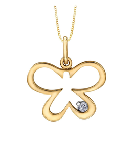 Forever Jewellery 10K Yellow Gold (0.02ct) Diamond Butterfly Pendant