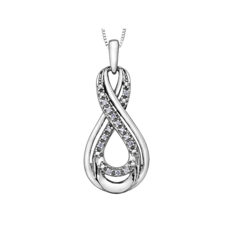 Forever Jewellery 10K White Gold (0.05ct) Diamond Infinity Pendant