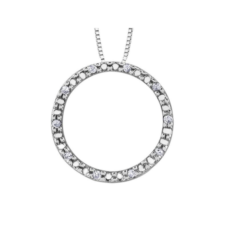 Forever Jewellery White Gold (0.05ct) Diamond Circle of Life Pendant