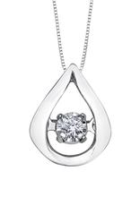 Forever Jewellery 10K White Gold (0.02ct) Dancing Diamond Teardrop Pendant