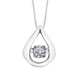 Forever Jewellery White Gold (0.02ct) Dancing Diamond Teardrop Pendant
