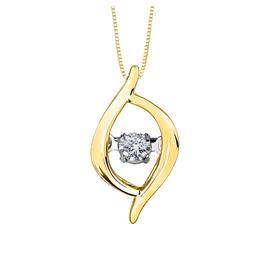 10K Yellow Gold (0.02ct) Dancing Diamond Contemporary Pendant