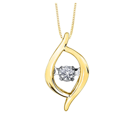 Forever Jewellery Yellow Gold (0.02cttw) Dancing Diamond Pendant