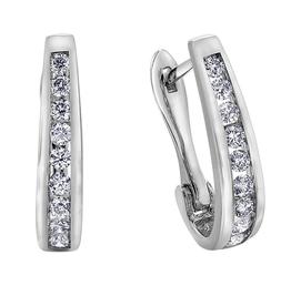 Forever Jewellery White Gold (0.10ct) Channel Set Diamond Huggie Earrings