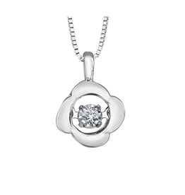 Forever Jewellery 10K White Gold (0.02ct) Dancing Diamond Floral Pendant