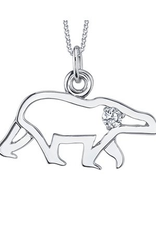 10K White Gold (0.06ct) Canadian Diamond Polar Bear Pendant