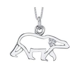10K White Gold (0.06ct) Canadian Diamond Polar Bear Pendant