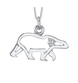 10K White Gold Canadian Diamond Polar Bear Pendant