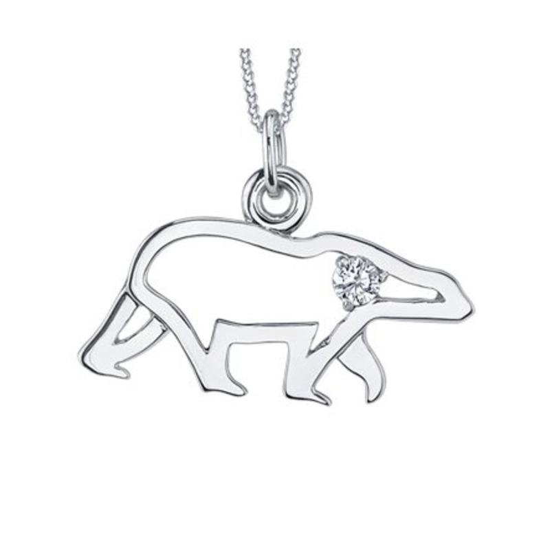 10K White Gold Canadian Diamond Polar Bear Pendant